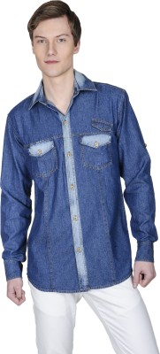 Poker Dreamz Men's Solid Casual Denim Blue Shirt