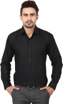 Reborn Designer Men's Solid Formal Black Shirt