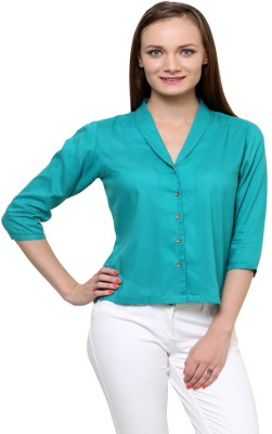 At By Taruna Women's Solid Casual Green Shirt