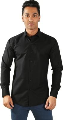 Just Differ Men's Solid Formal Black Shirt