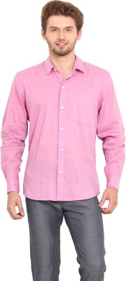Ekmatra Men's Solid Casual Pink Shirt