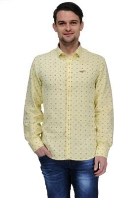 Canary London Men's Printed Casual Yellow Shirt