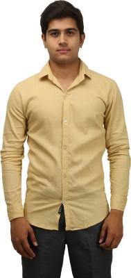 Aaral Men's Solid Casual Beige Shirt
