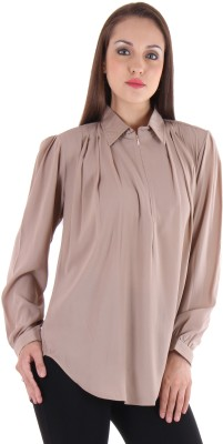 Lady Stark Women's Solid Casual Beige Shirt