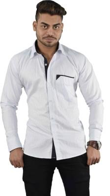 Your Desire Shirts Men's Striped Casual White, Black Shirt