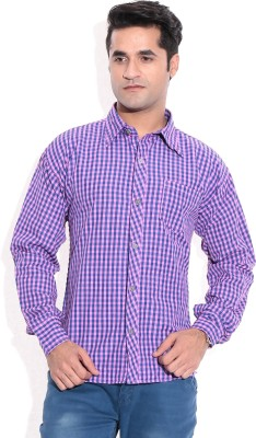 ZION Men's Checkered Wedding, Casual, Party, Formal Purple Shirt
