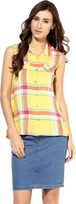 Raindrops Women's Checkered Casual Yellow Shirt