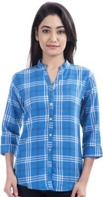 Peppermint Blues Women's Checkered Casual Blue Shirt