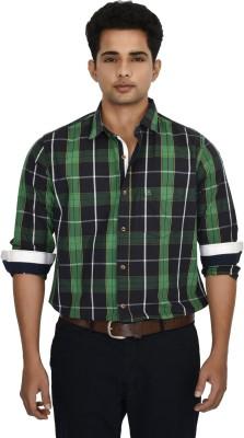 Hackensack Men's Checkered Casual Green, Black Shirt
