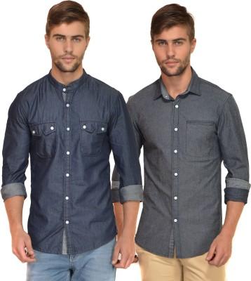 Chalk Factory Men's Solid Casual Denim Grey, Blue Shirt