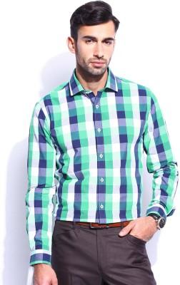 Invictus Men's Checkered Formal Green Shirt
