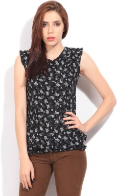 Wrangler Women's Printed Casual Black Shirt