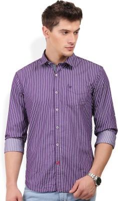PAN VALLEY Men's Striped Casual Purple Shirt
