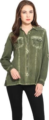 Free & Young Women's Solid Casual Dark Green Shirt