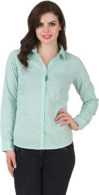 Silk Weavers Women's Printed Casual Light Green Shirt