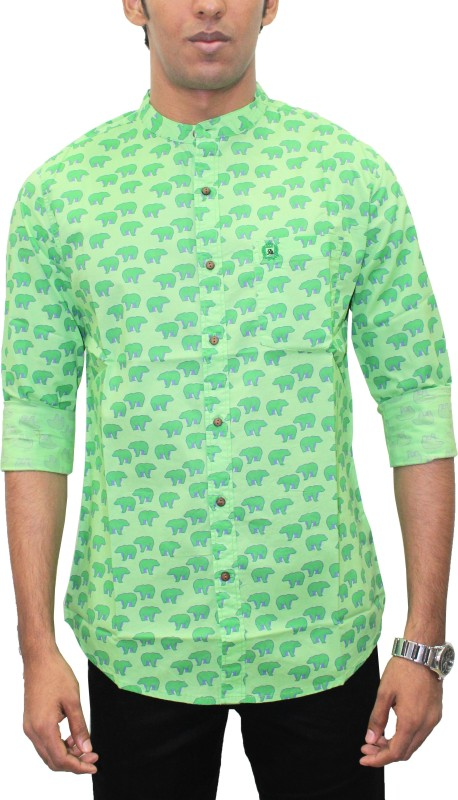 Southbay Men's Animal Print, Printed Casual Green Shirt