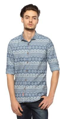 Nature Men's Floral Print Casual Blue Shirt