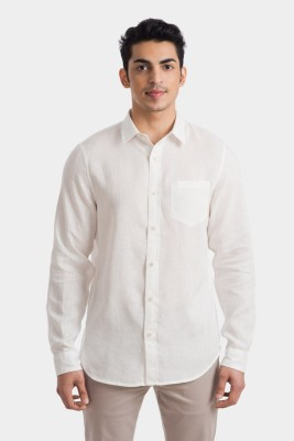 Bhane Men's Solid Casual Linen White Shirt