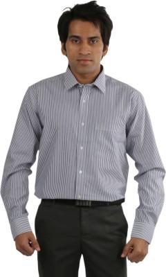 Desar Rana Men's Striped Formal Blue, White Shirt