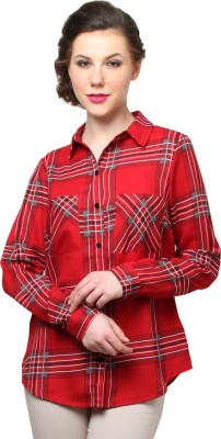 Moderno Women's Checkered Casual Red Shirt