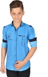 Anry Boys Solid Casual Blue Shirt
