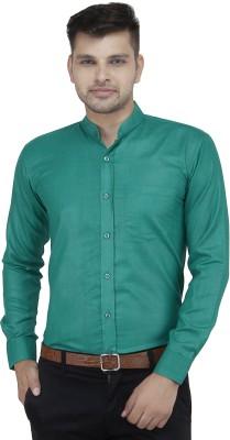 LEAF Men's Solid Formal Green Shirt