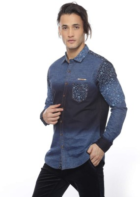 Apris Men's Woven Casual Dark Blue Shirt
