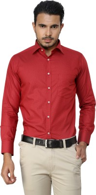 American Cult Men's Polka Print Formal Reversible Red Shirt