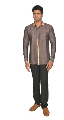 DoubleF Men's Solid Casual Brown Shirt
