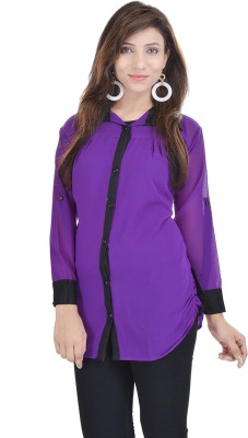 Soundarya Women's Solid Casual Purple Shirt