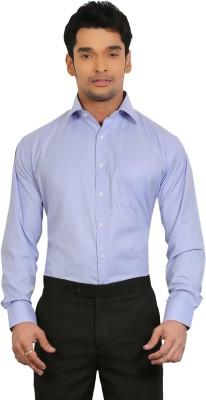 A & C Signature Men's Solid Formal Blue Shirt