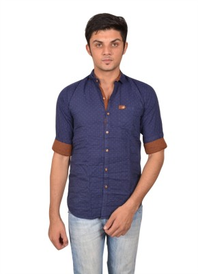 Suzee Men's Solid Casual Blue, Brown Shirt