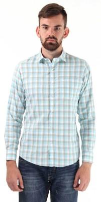 Monte Carlo Men's Checkered Casual Light Blue, White Shirt