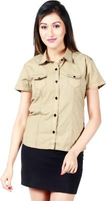 Faireno Women's Solid Casual Beige Shirt