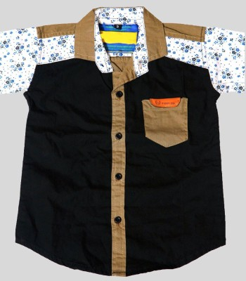 Kidicious Boy's Printed Casual Black, White, Brown Shirt