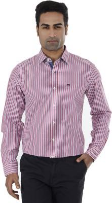 London Fog Men,s Striped Casual Pink Shirt
