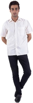 Warrior Men's Solid Casual White Shirt