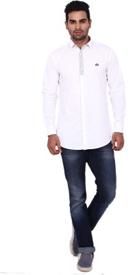 Coloroid Men's Solid Casual White Shirt