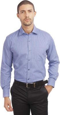 Leo Men's Striped Formal Purple Shirt