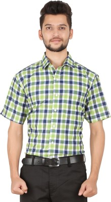Stylo Shirt Men's Checkered Casual Green Shirt
