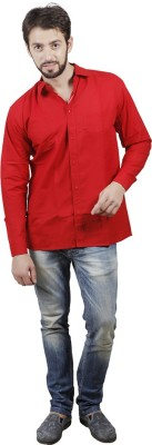 PSK Men's Solid Formal Red Shirt