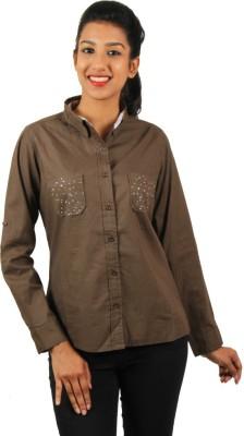 Old Khaki Women's Solid Casual Beige Shirt