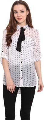 Blue Sequin Women's Polka Print Casual White, Black Shirt