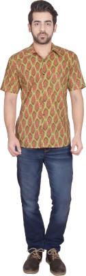 Shilpi Men's Printed Casual Yellow, Green Shirt
