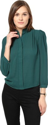 Remanika Women,s Solid Casual Green Shirt