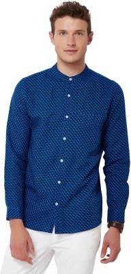Chumbak Men's Printed Casual Linen Blue Shirt