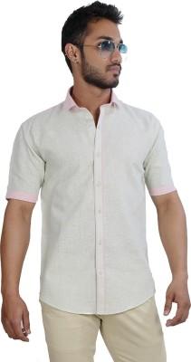 Just Differ Men's Self Design Casual Pink, Light Green Shirt