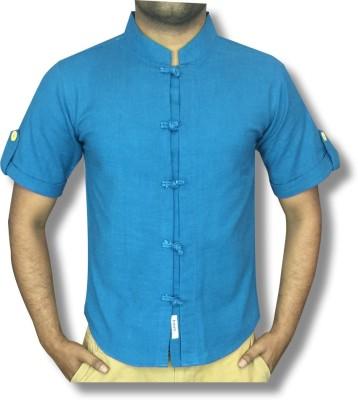 hmm Men's Solid Casual Linen Blue Shirt