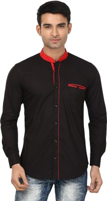 Smile By Nature Men's Solid Casual Black, Red Shirt