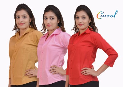 carrol Women,s, Girl's Solid Formal, Casual Red, Pink, Brown Shirt